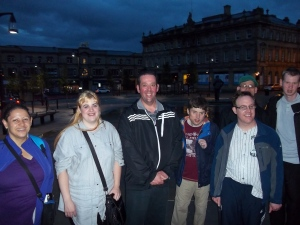 Group in town at night